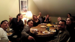 podmates and other friends - sharing a meal at home