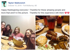 FB post - Taylor with Thanksgiving greetings