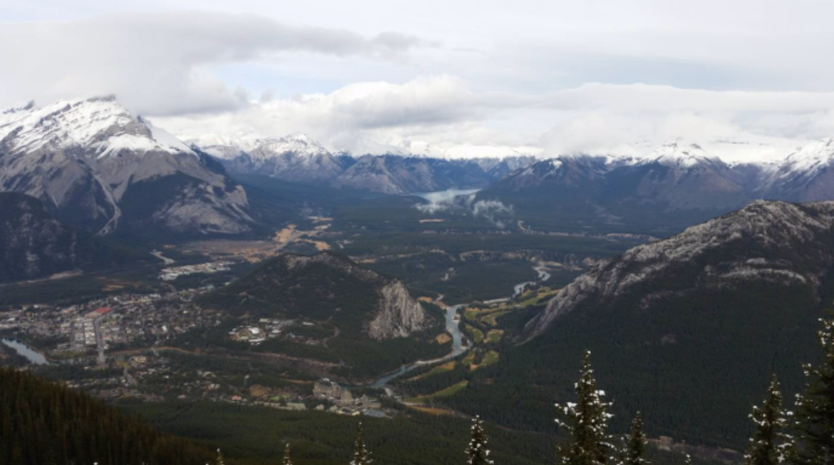 Banff township view from a mountain peak
