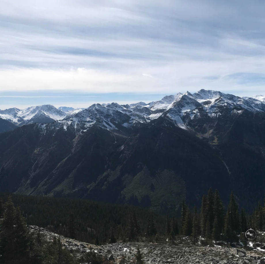 Stunning mountain view during a hike in Golden, BC.