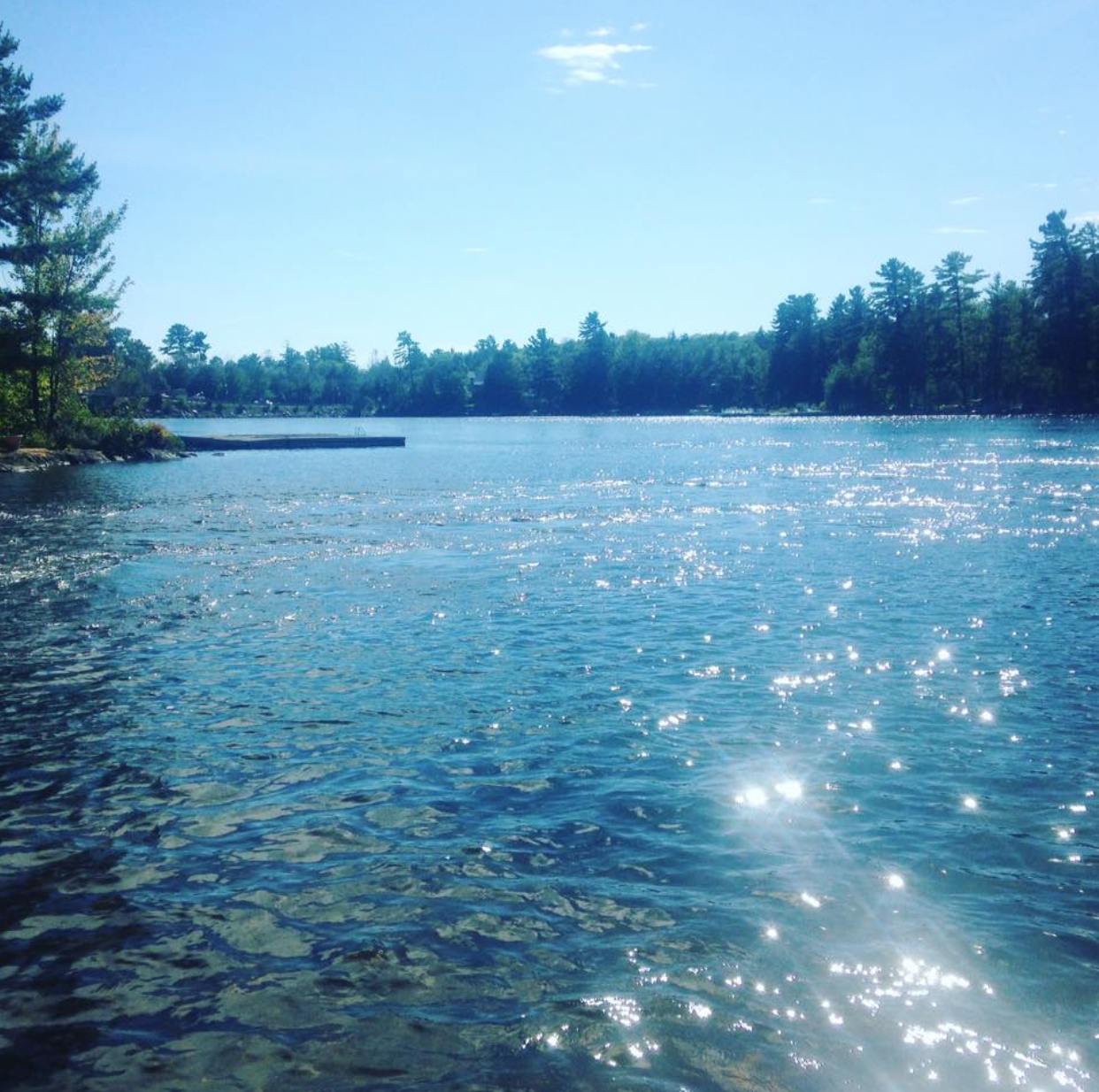 Beautiful sunny day on a lake in Muskoka, Ontario.